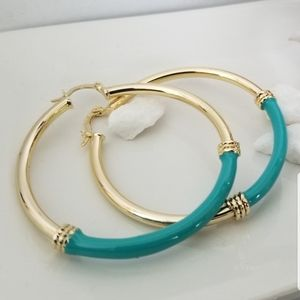 18k Goldplated  Pink and Turquoise hoops Earrings.